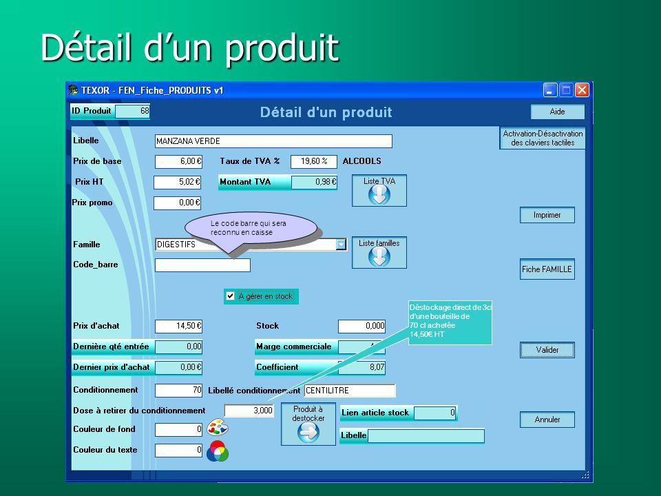 Détail d'un produit Le code barre qui sera reconnu en caisse