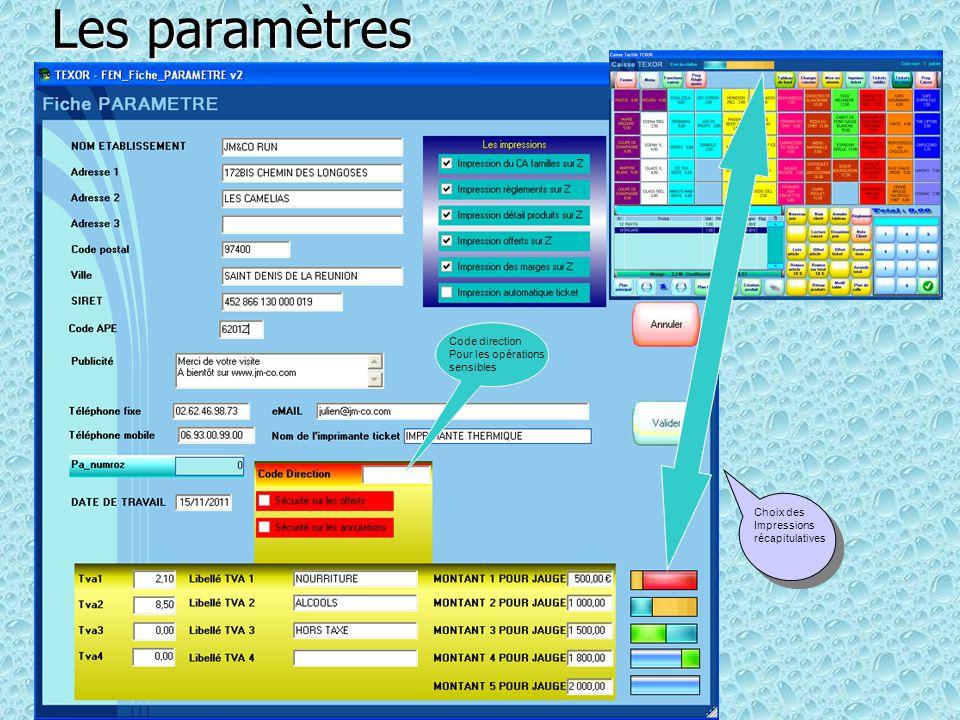 Les paramètres Code direction Pour les opérations sensibles Choix des
