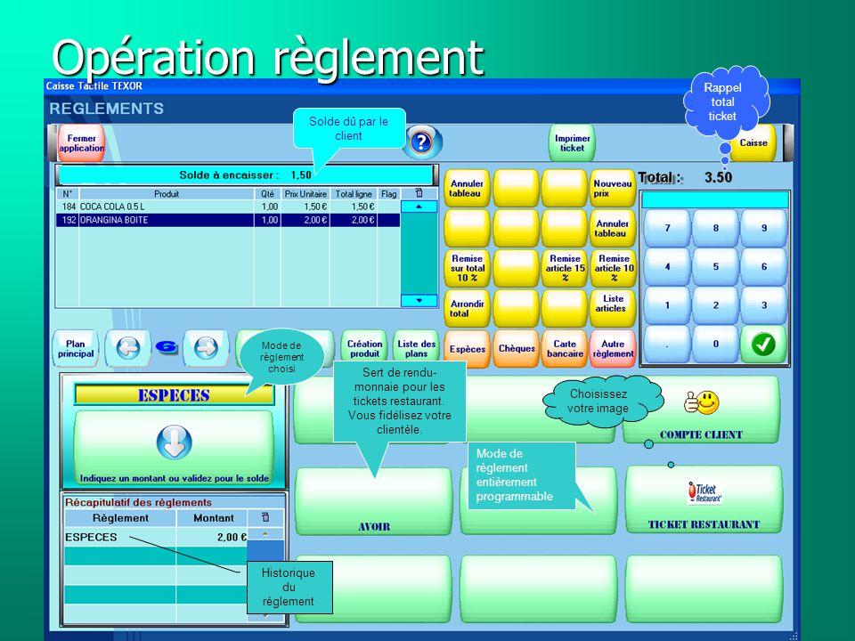 Opération règlement Rappel total ticket Solde dû par le client