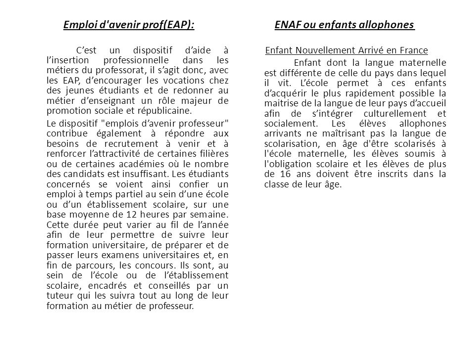 Emploi d avenir prof(EAP): ENAF ou enfants allophones