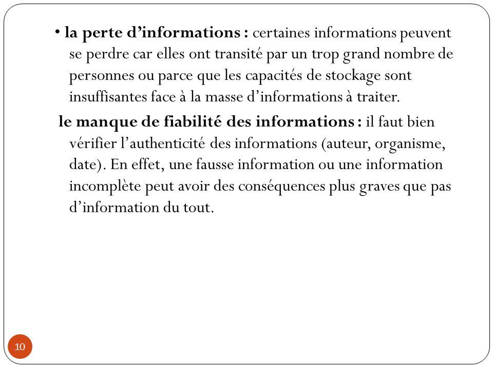 • la perte d'informations : certaines informations peuvent se perdre car elles ont transité par un trop grand nombre de personnes ou parce que les capacités de stockage sont insuffisantes face à la masse d'informations à traiter.