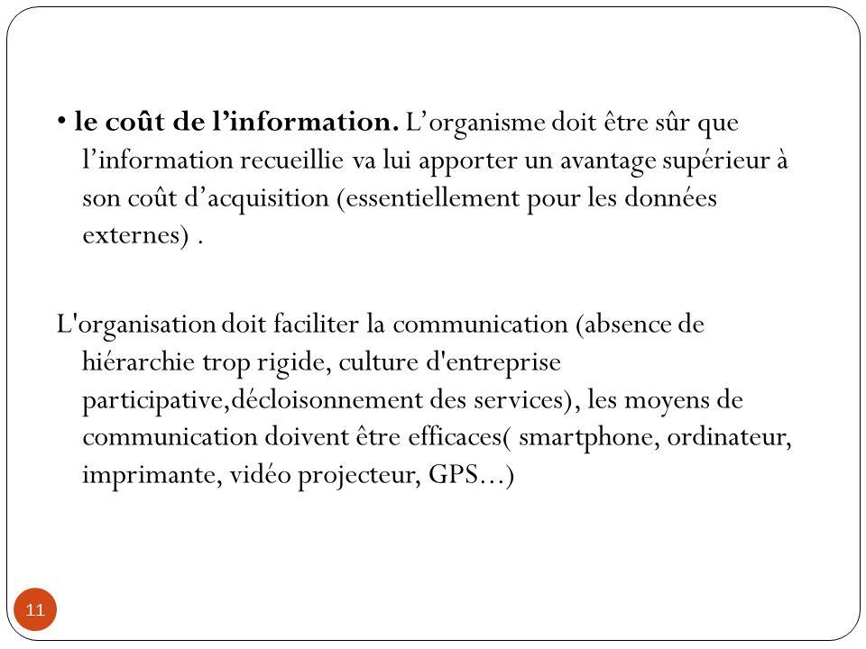 • le coût de l'information