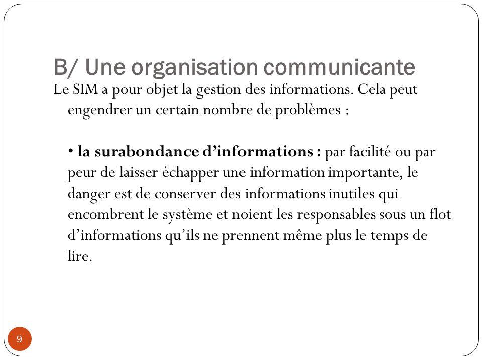 B/ Une organisation communicante