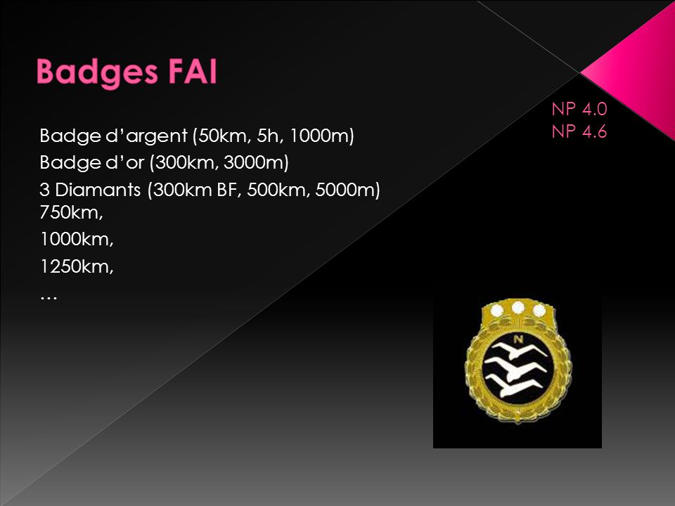 Badges FAI NP 4.0 NP 4.6 Badge d'argent (50km, 5h, 1000m)