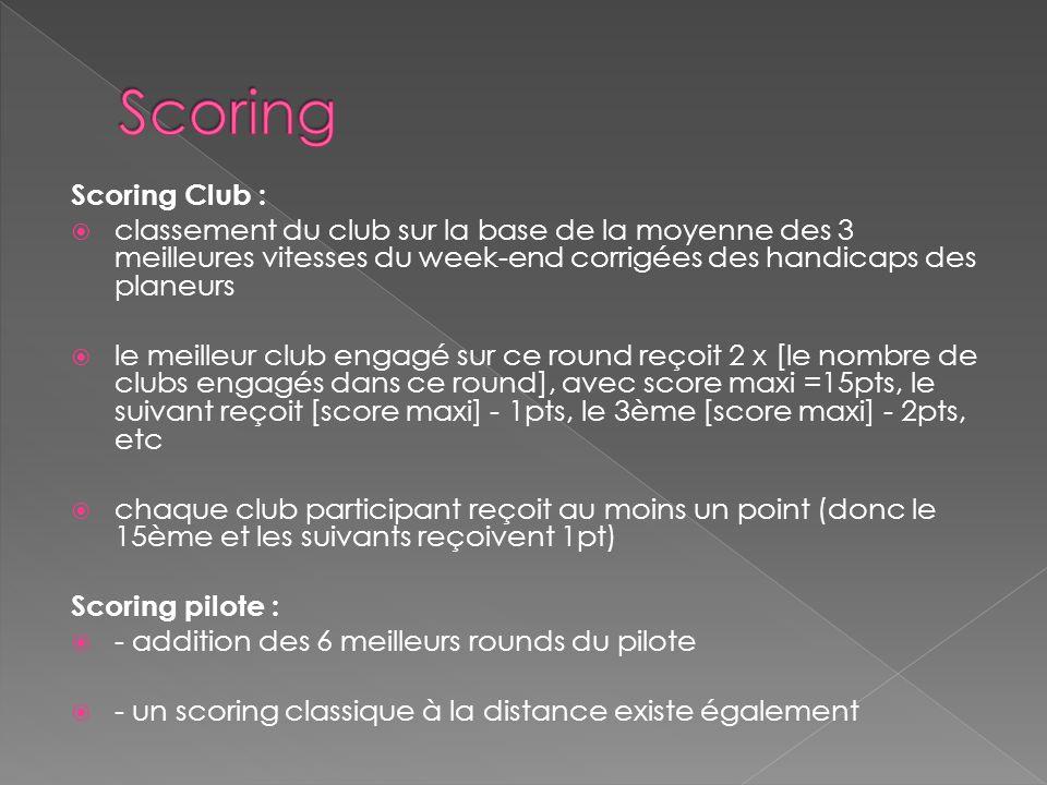 Scoring Scoring Club : classement du club sur la base de la moyenne des 3 meilleures vitesses du week-end corrigées des handicaps des planeurs.