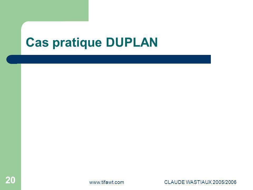 Cas pratique DUPLAN www.tifawt.com CLAUDE WASTIAUX 2005/2006