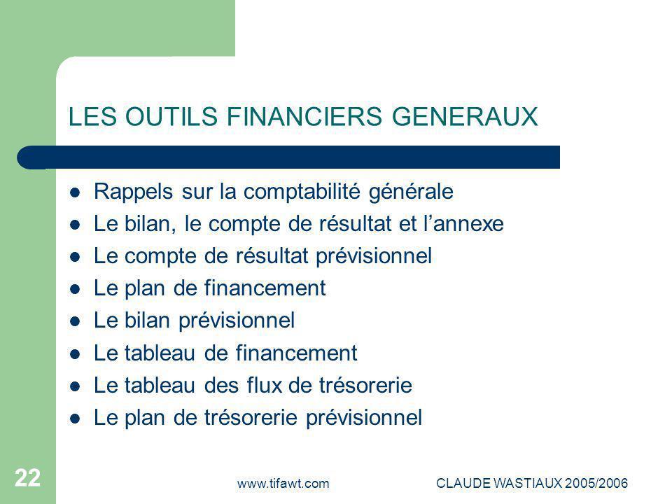 LES OUTILS FINANCIERS GENERAUX