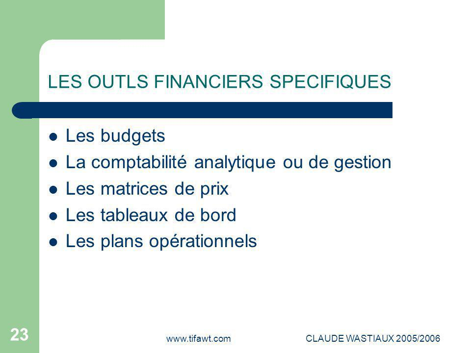 LES OUTLS FINANCIERS SPECIFIQUES