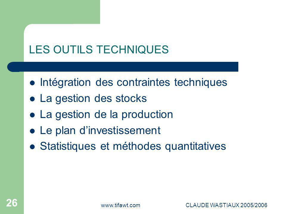 Intégration des contraintes techniques La gestion des stocks