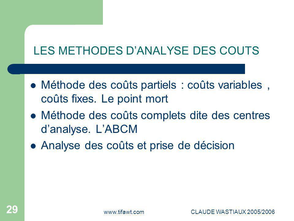 LES METHODES D'ANALYSE DES COUTS