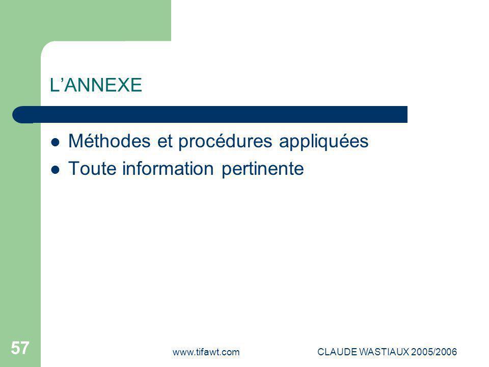 Méthodes et procédures appliquées Toute information pertinente