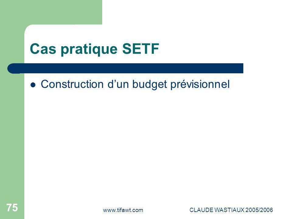 Cas pratique SETF Construction d'un budget prévisionnel www.tifawt.com