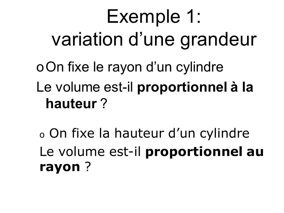 Exemple 1: variation d'une grandeur
