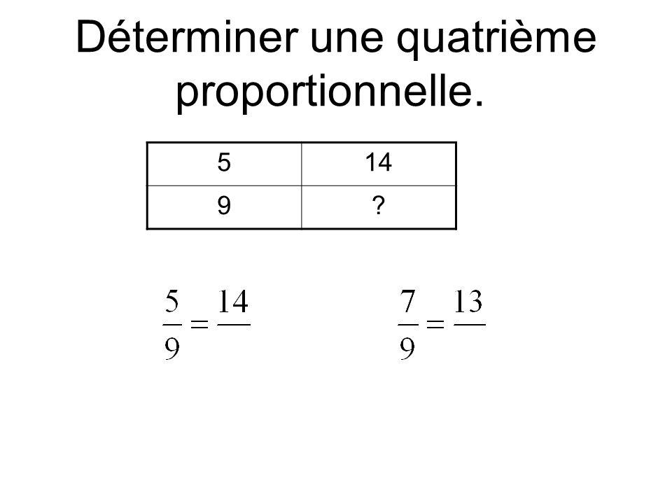 Déterminer une quatrième proportionnelle.