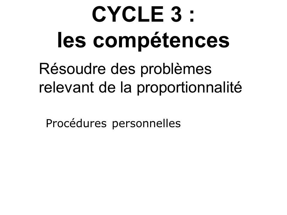 CYCLE 3 : les compétences