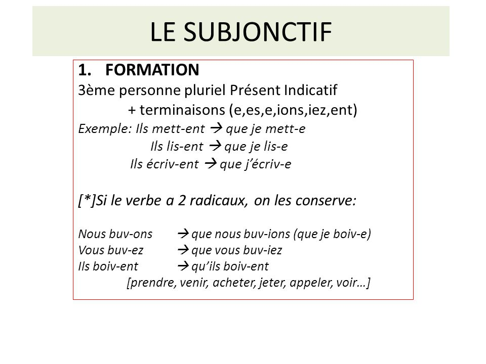 + terminaisons (e,es,e,ions,iez,ent)