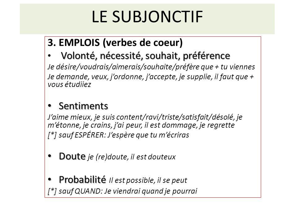 LE SUBJONCTIF 3. EMPLOIS (verbes de coeur) Sentiments