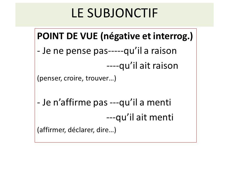 LE SUBJONCTIF POINT DE VUE (négative et interrog.)