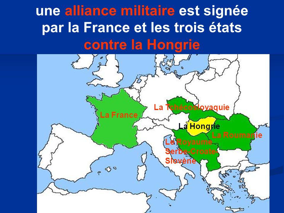 une alliance militaire est signée par la France et les trois états