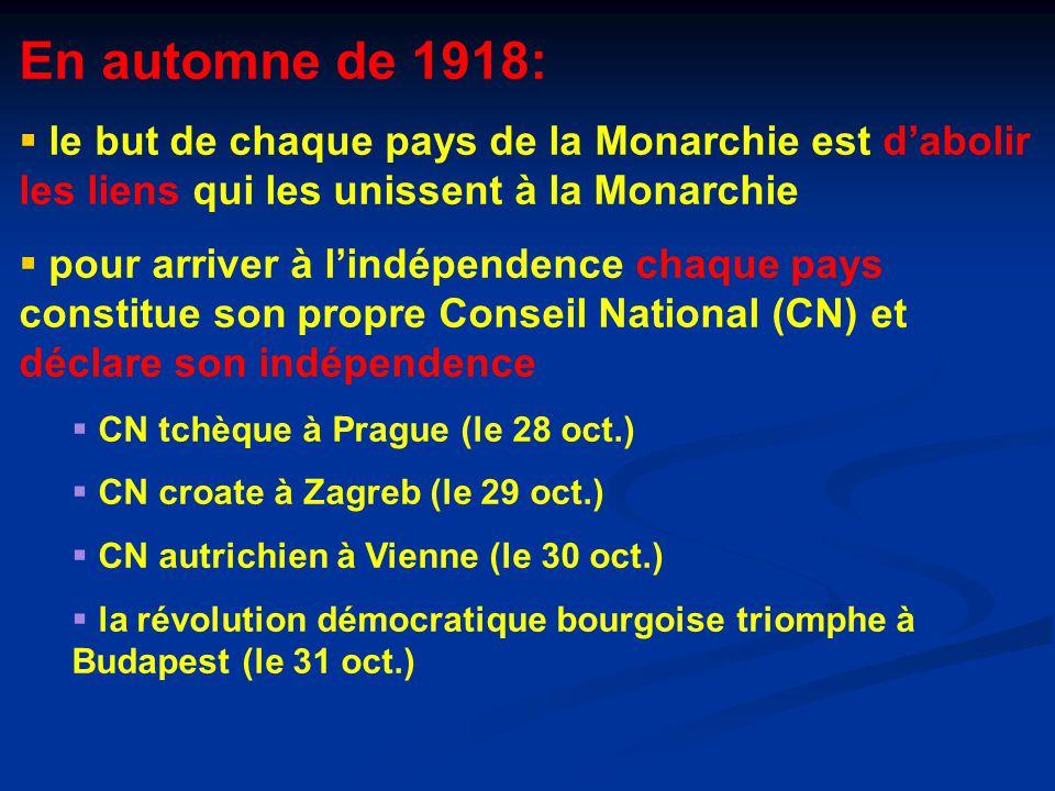 En automne de 1918: le but de chaque pays de la Monarchie est d'abolir les liens qui les unissent à la Monarchie.