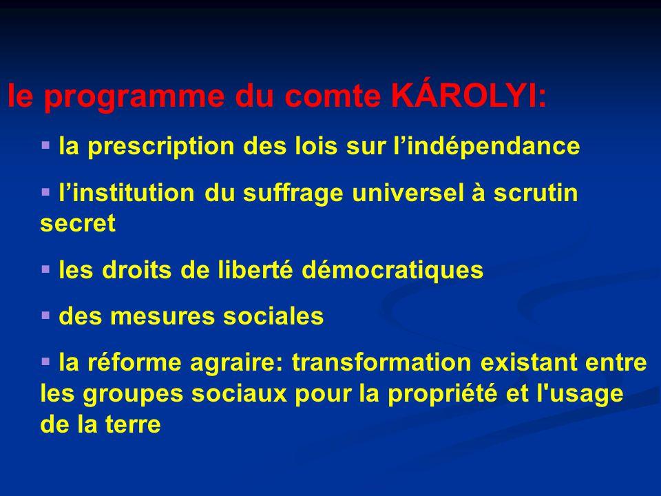 le programme du comte KÁROLYI: