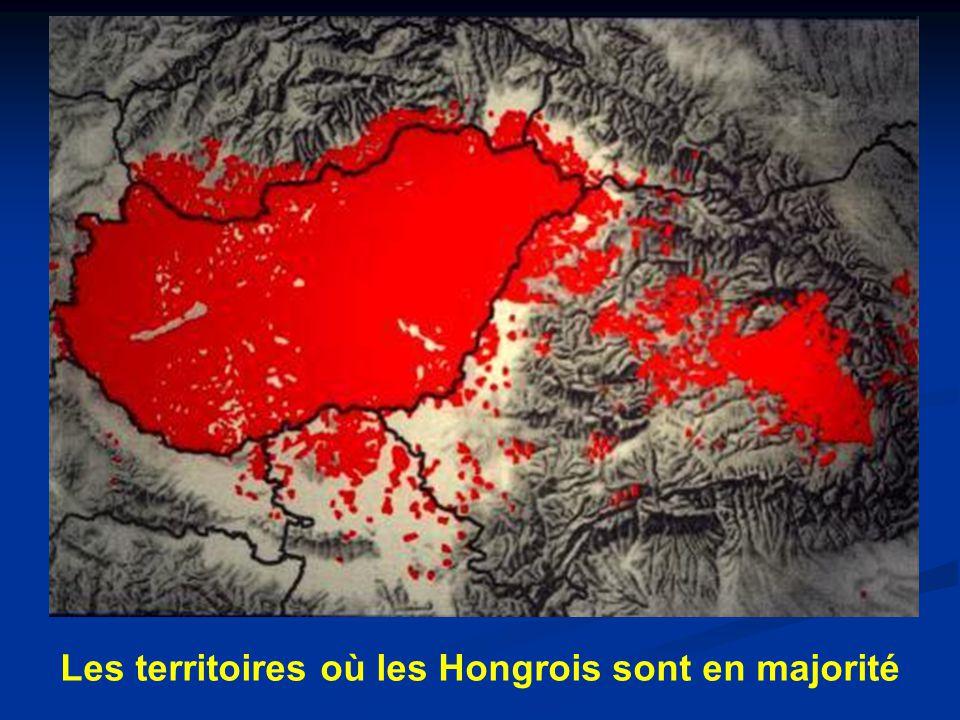 Les territoires où les Hongrois sont en majorité