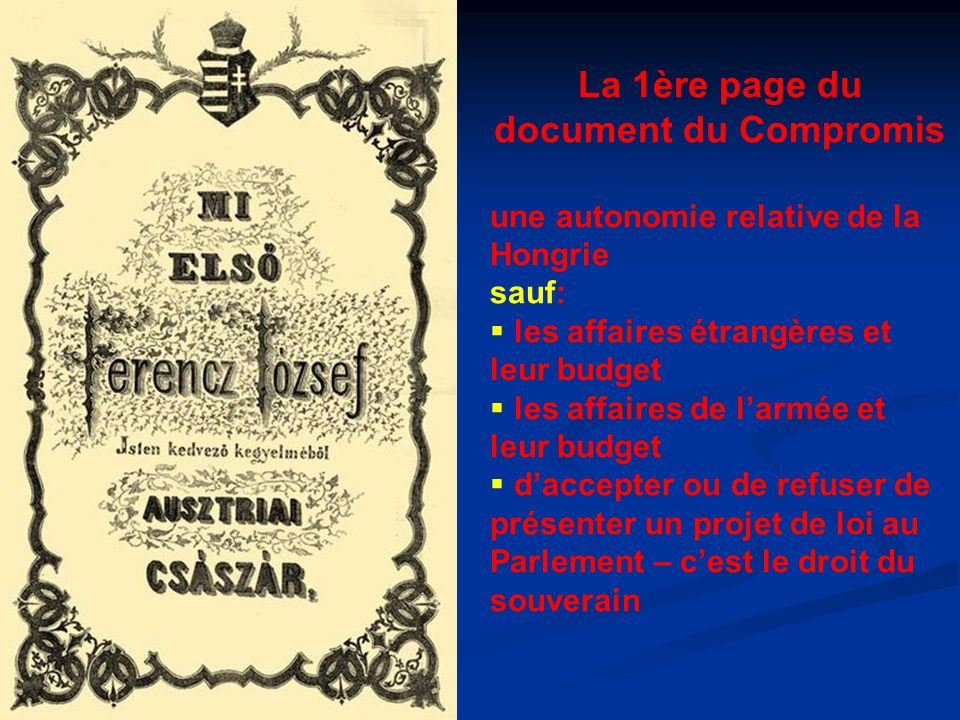 La 1ère page du document du Compromis