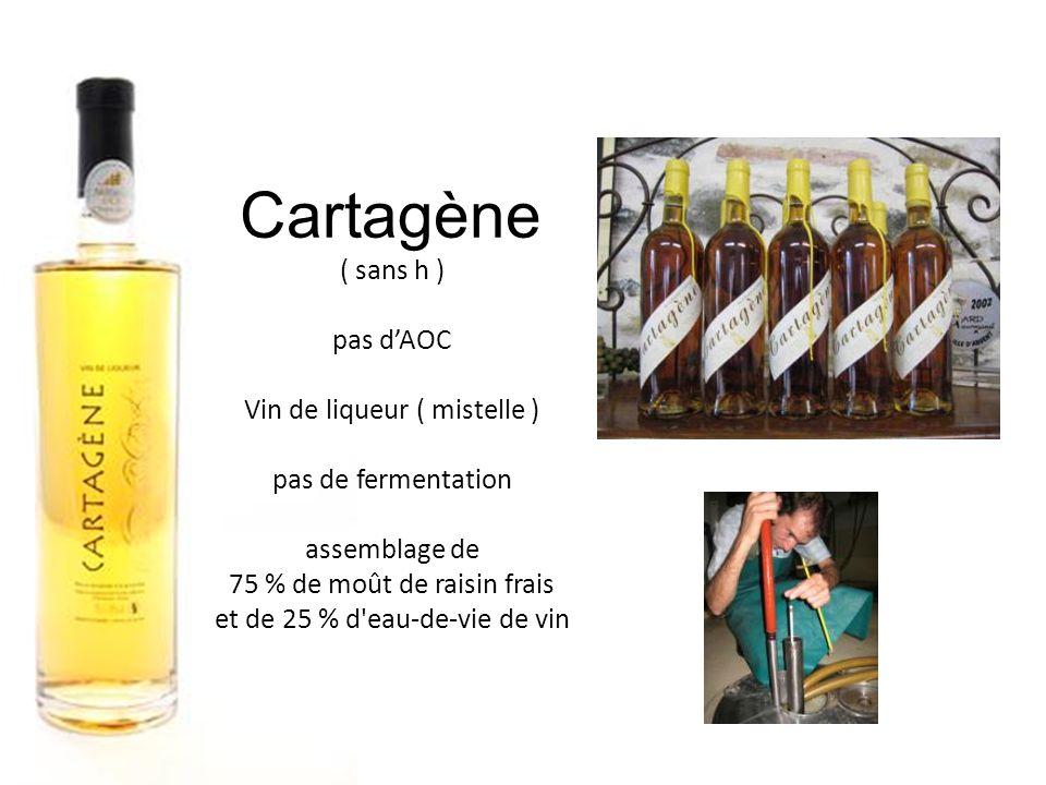 Cartagène ( sans h ) pas d'AOC Vin de liqueur ( mistelle )