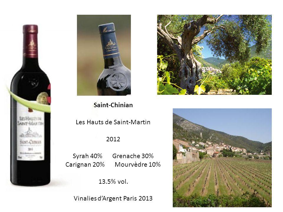 Les Hauts de Saint-Martin 2012 Syrah 40% Grenache 30%