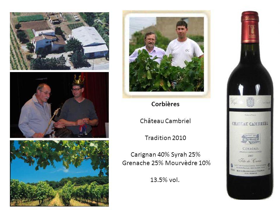 ornaisons 20 km puest de narbonne. Corbières. Château Cambriel. Tradition 2010. Carignan 40% Syrah 25%
