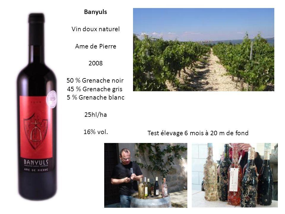 Banyuls Vin doux naturel. Ame de Pierre. 2008. 50 % Grenache noir. 45 % Grenache gris. 5 % Grenache blanc.