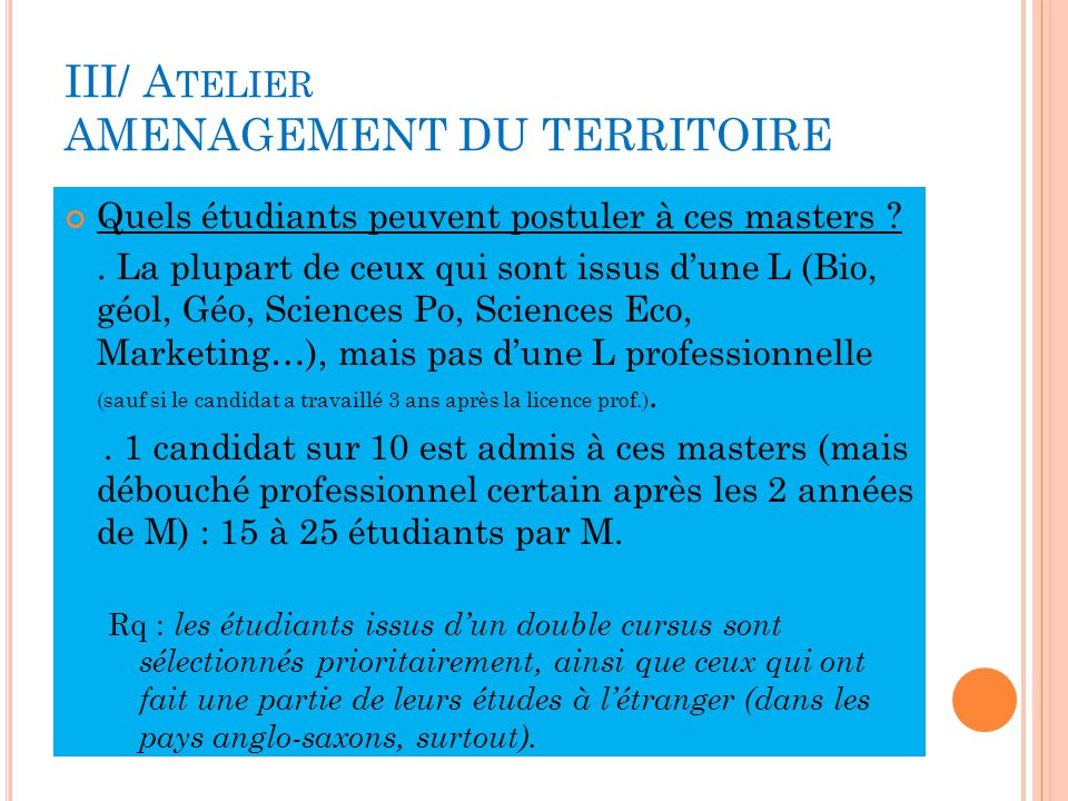 III/ Atelier AMENAGEMENT DU TERRITOIRE