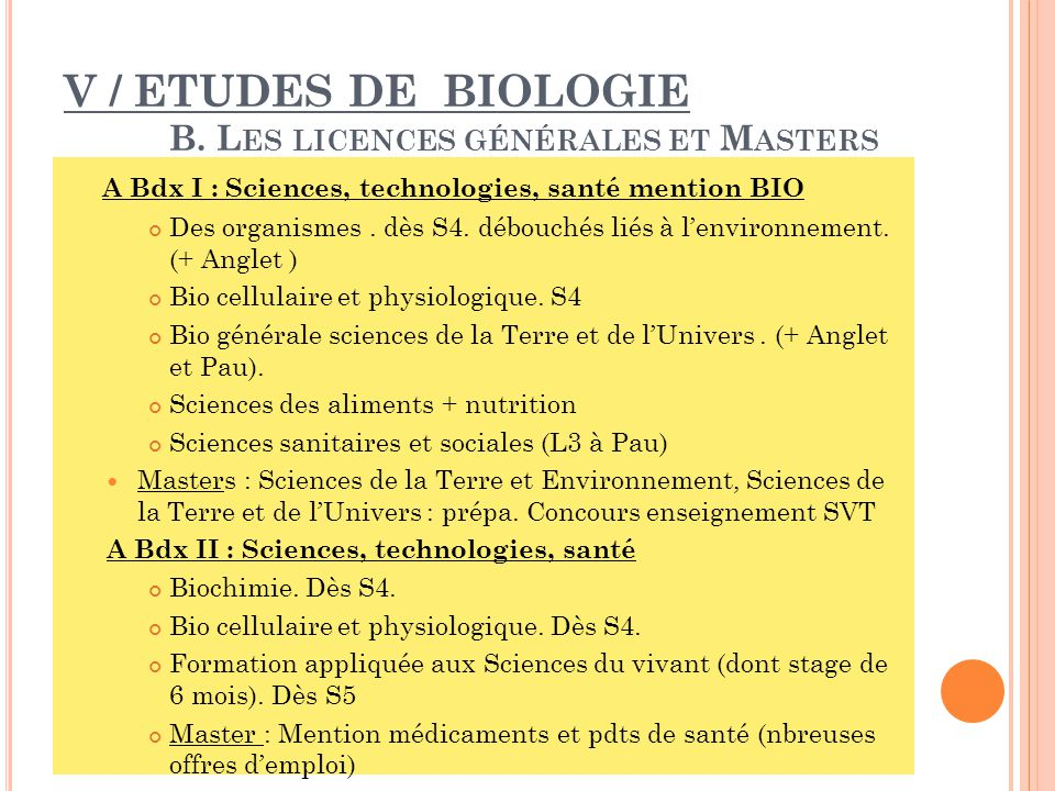 V / ETUDES DE BIOLOGIE B. Les licences générales et Masters