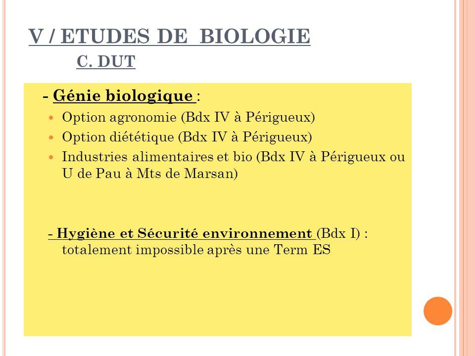 V / ETUDES DE BIOLOGIE C. DUT