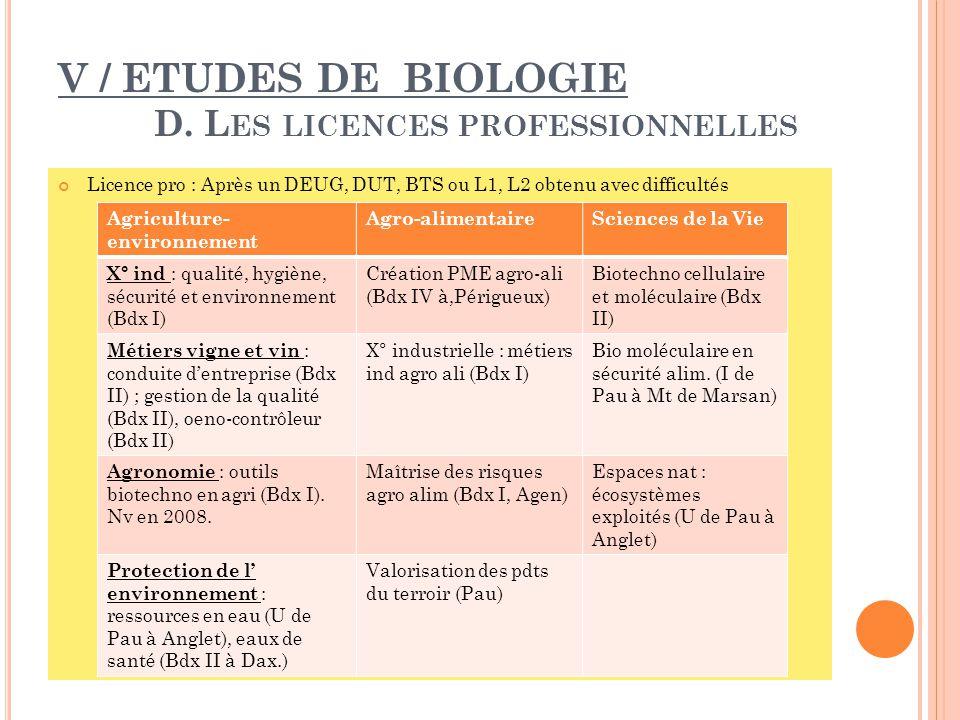 V / ETUDES DE BIOLOGIE D. Les licences professionnelles