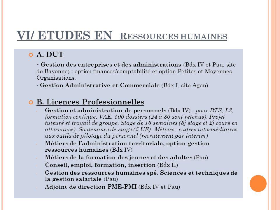 VI/ ETUDES EN Ressources humaines