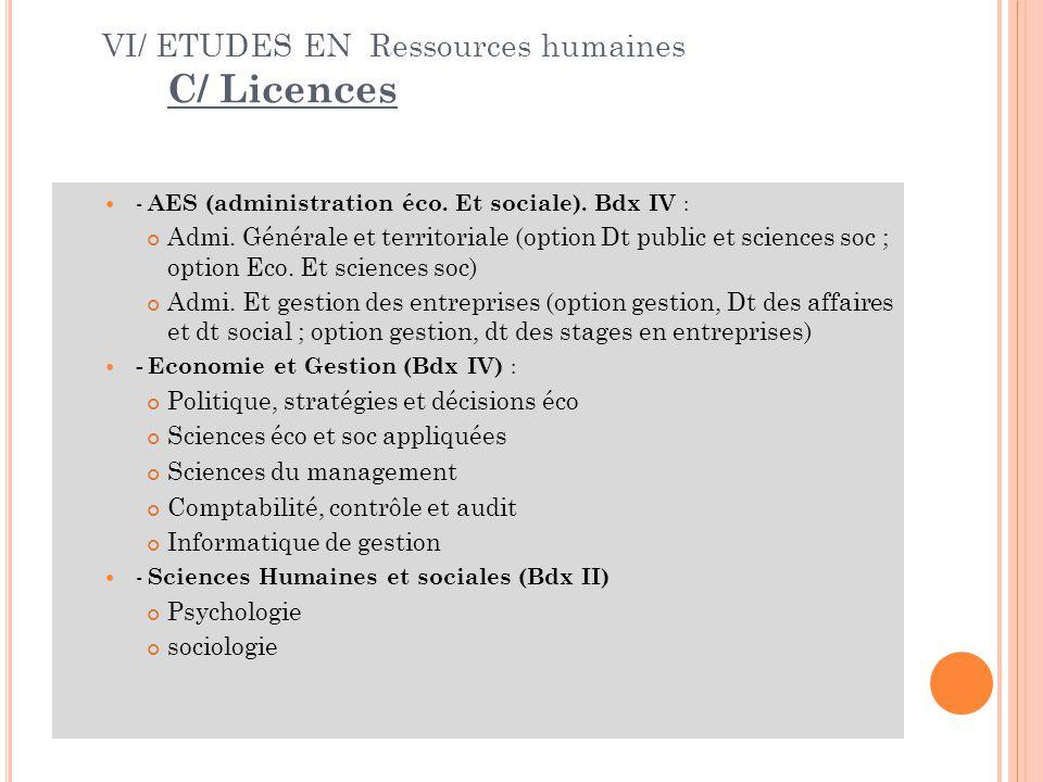 VI/ ETUDES EN Ressources humaines C/ Licences