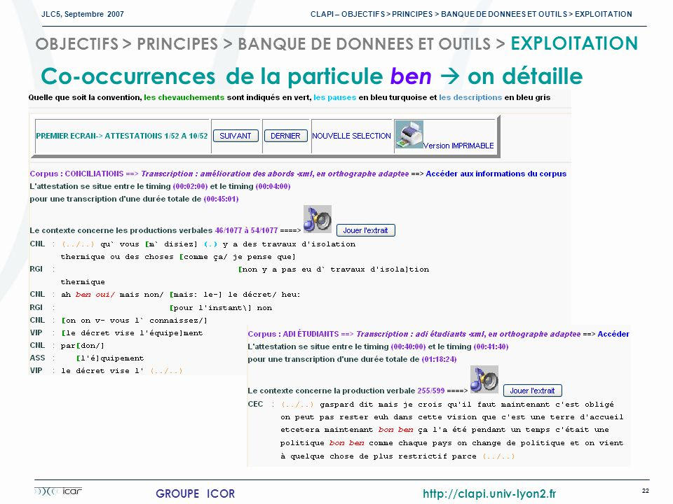 Co-occurrences de la particule ben  on détaille