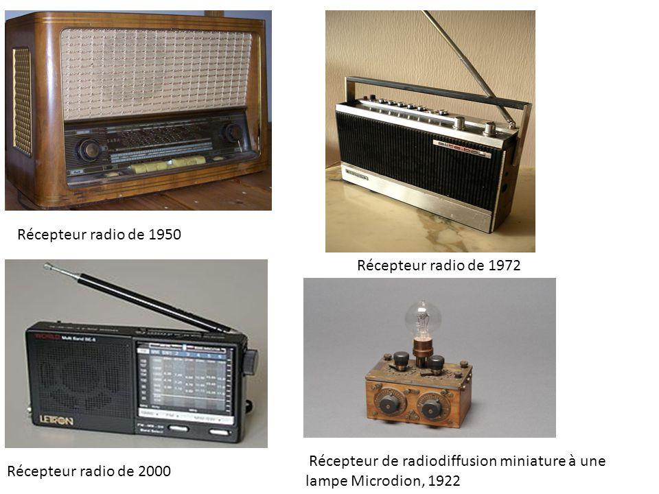 Récepteur radio de 1950 Récepteur radio de 1972. Récepteur de radiodiffusion miniature à une lampe Microdion, 1922.