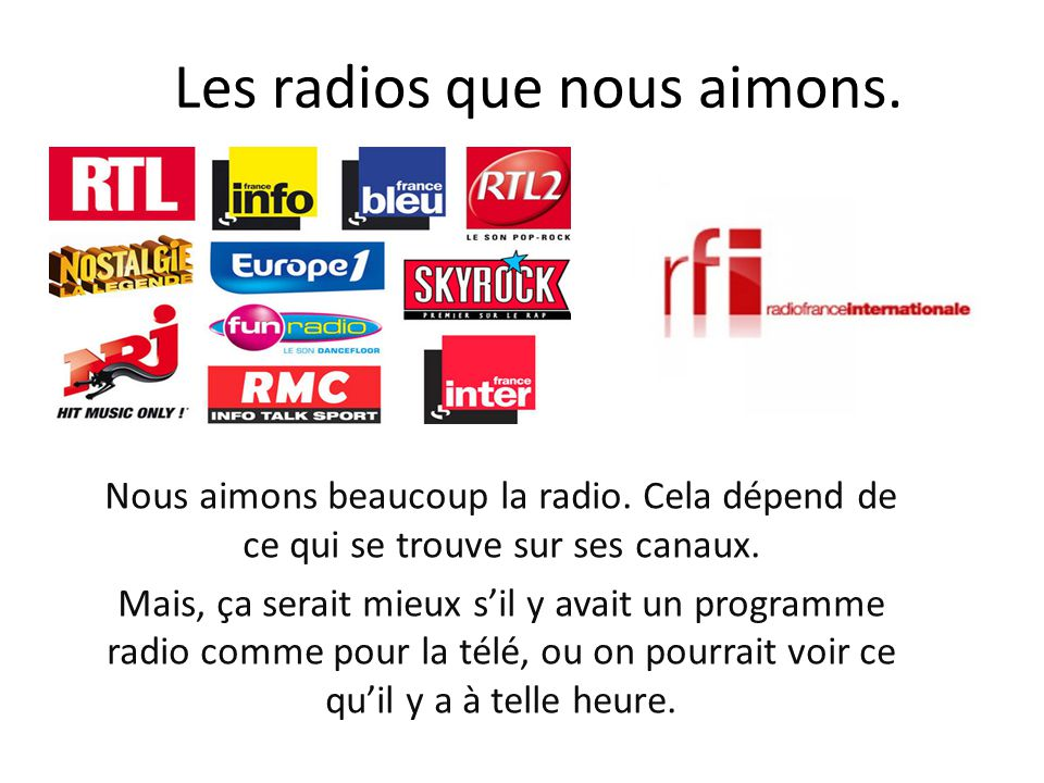Les radios que nous aimons.