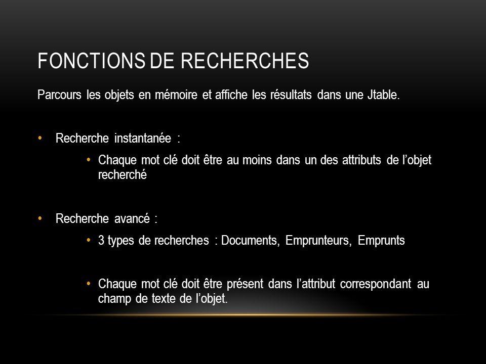 Fonctions de RECHERCHES
