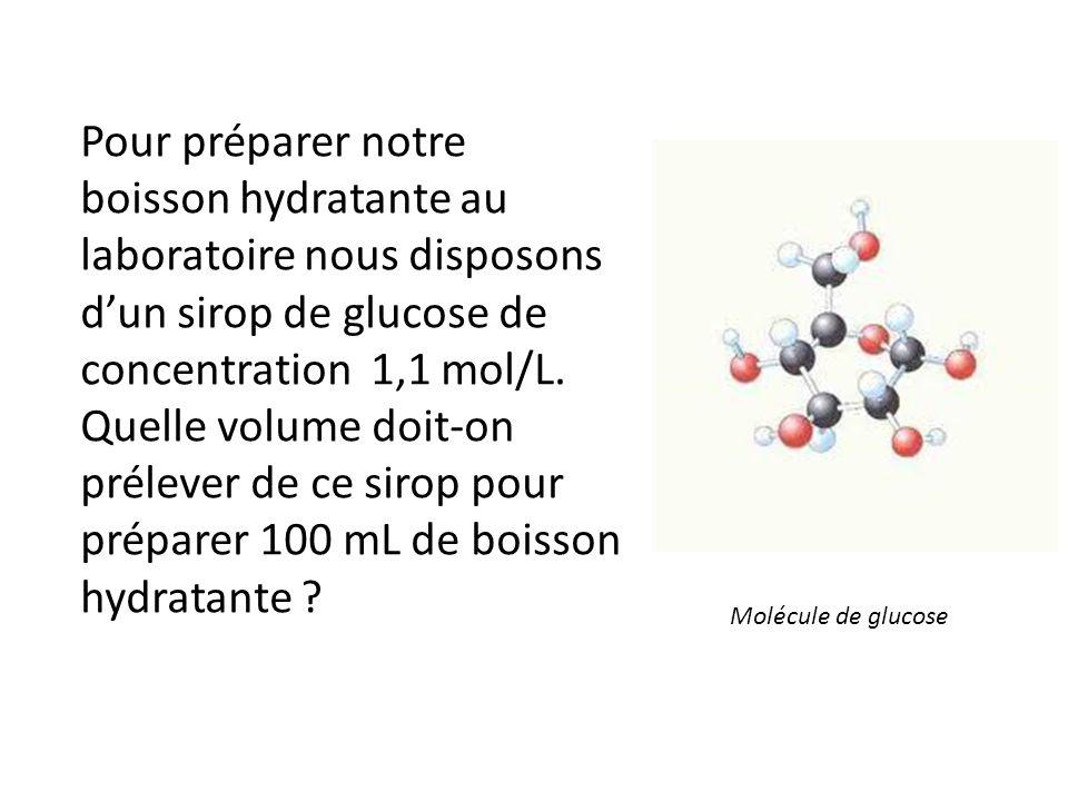 Pour préparer notre boisson hydratante au laboratoire nous disposons d'un sirop de glucose de concentration 1,1 mol/L. Quelle volume doit-on prélever de ce sirop pour préparer 100 mL de boisson hydratante
