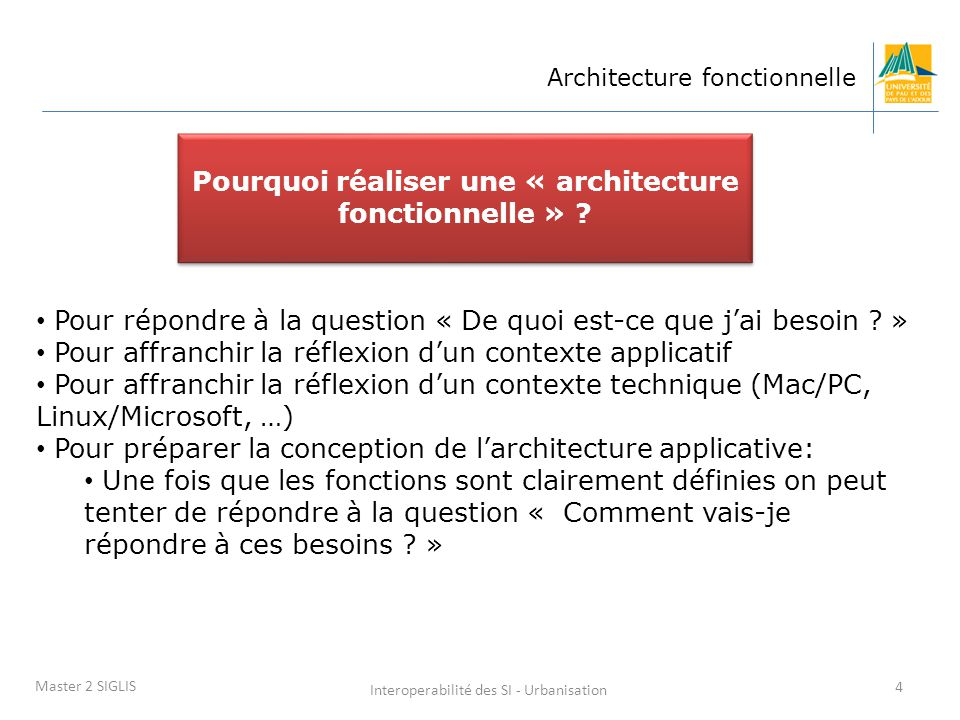 Pourquoi réaliser une « architecture fonctionnelle »
