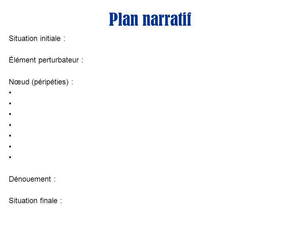 Plan narratif Situation initiale : Élément perturbateur :
