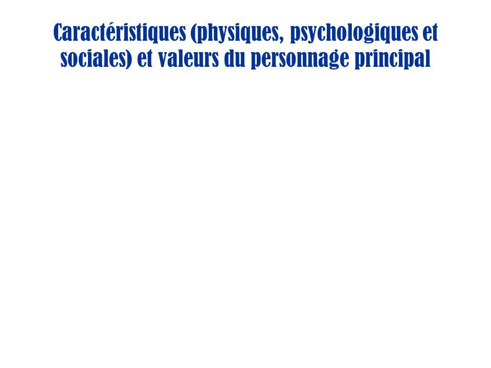 Caractéristiques (physiques, psychologiques et sociales) et valeurs du personnage principal