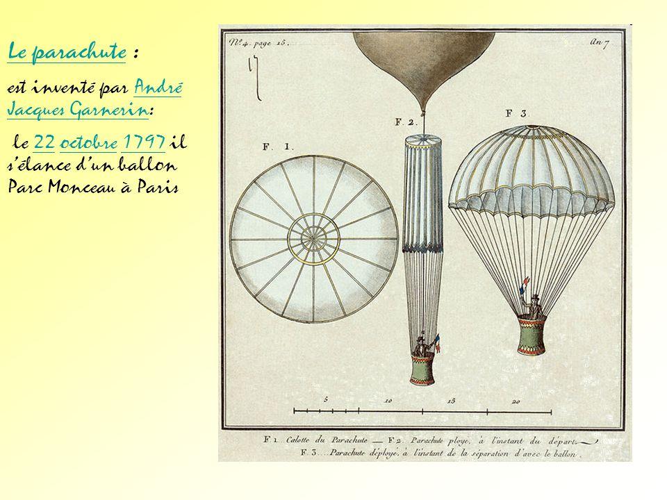 Le parachute : est inventé par André Jacques Garnerin: