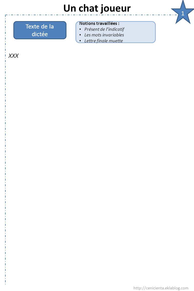 Un chat joueur 1 Texte de la dictée XXX Notions travaillées :