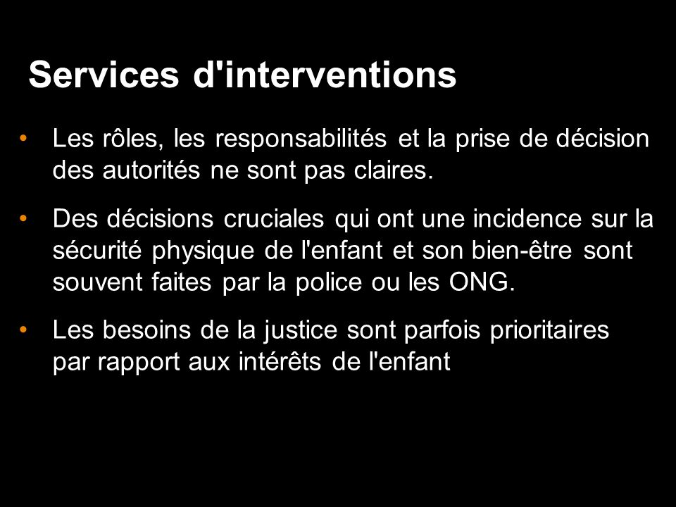 Services d interventions