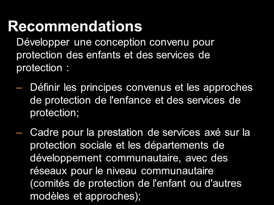 Recommendations Développer une conception convenu pour protection des enfants et des services de protection :