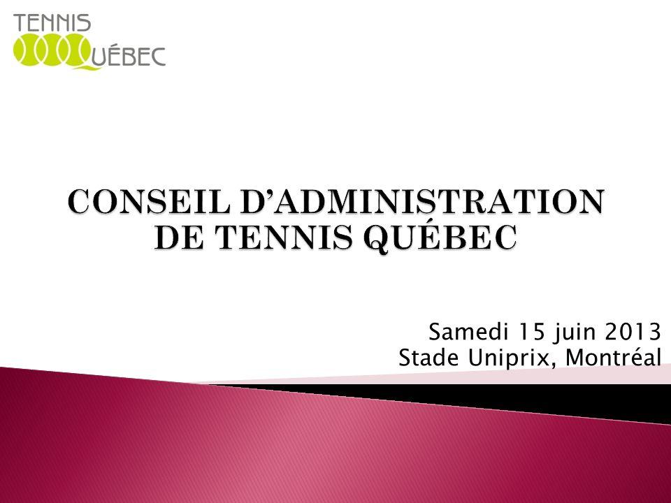 CONSEIL D'ADMINISTRATION DE TENNIS QUÉBEC